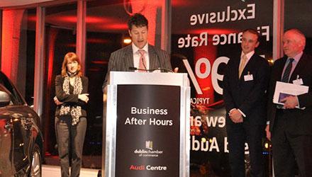 John Coleman, partner addresses the Chamber of  Commerce in Dublin.